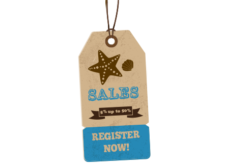 Register now -save from 5% up to 50%